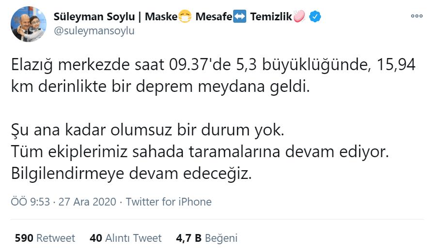 Icisleri Bakani Suleyman Soylu